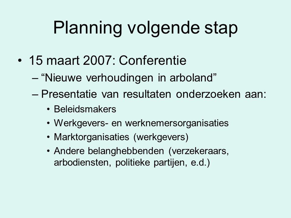 """Planning volgende stap 15 maart 2007: Conferentie –""""Nieuwe verhoudingen in arboland"""" –Presentatie van resultaten onderzoeken aan: Beleidsmakers Werkge"""