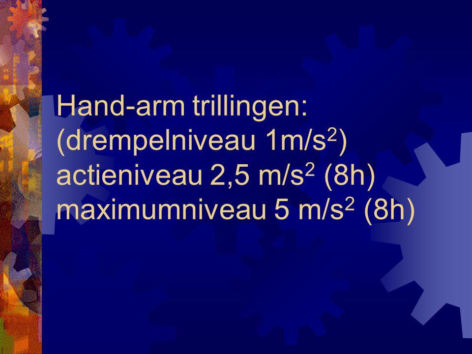 Hand-arm trillingen: (drempelniveau 1m/s 2 ) actieniveau 2,5 m/s 2 (8h) maximumniveau 5 m/s 2 (8h)