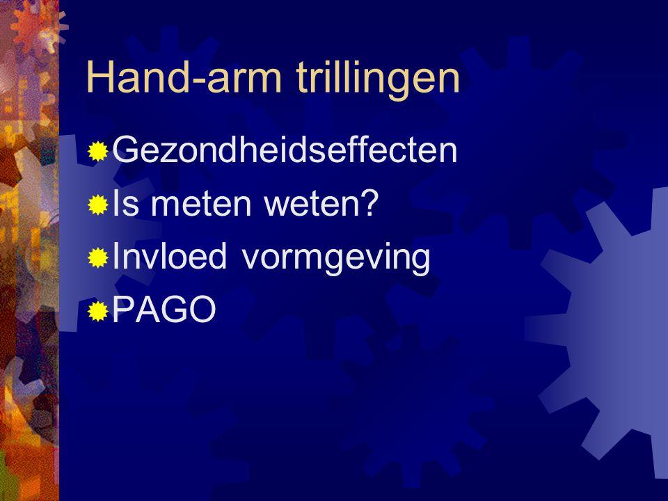 Hand-arm trillingen  Gezondheidseffecten  Is meten weten?  Invloed vormgeving  PAGO