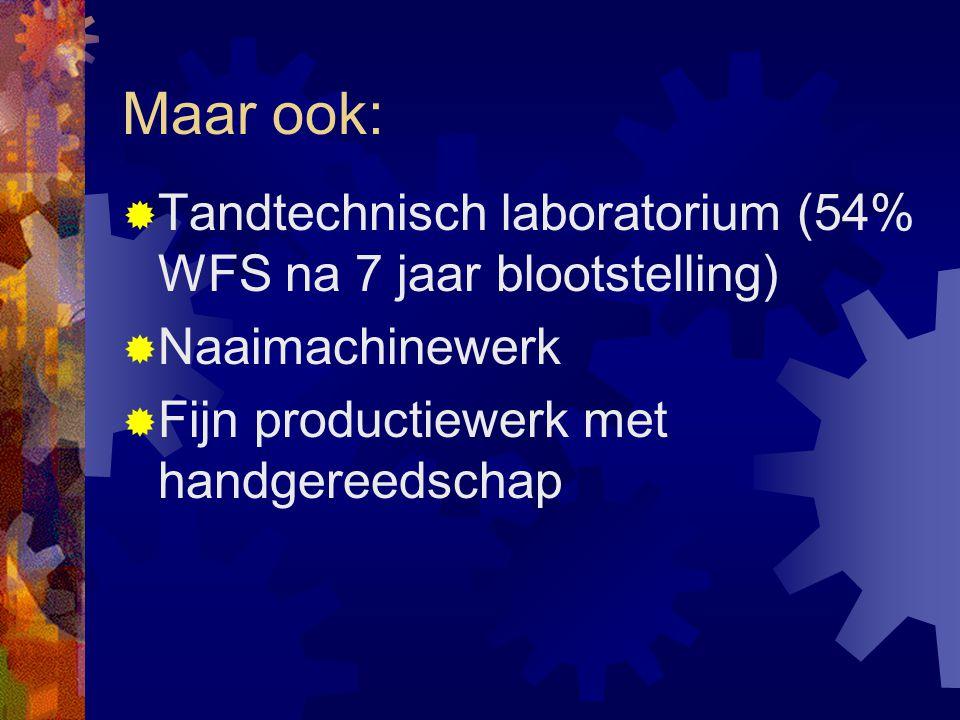 Maar ook:  Tandtechnisch laboratorium (54% WFS na 7 jaar blootstelling)  Naaimachinewerk  Fijn productiewerk met handgereedschap