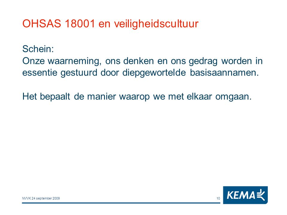 NVVK 24 september 200910 OHSAS 18001 en veiligheidscultuur Schein: Onze waarneming, ons denken en ons gedrag worden in essentie gestuurd door diepgewo