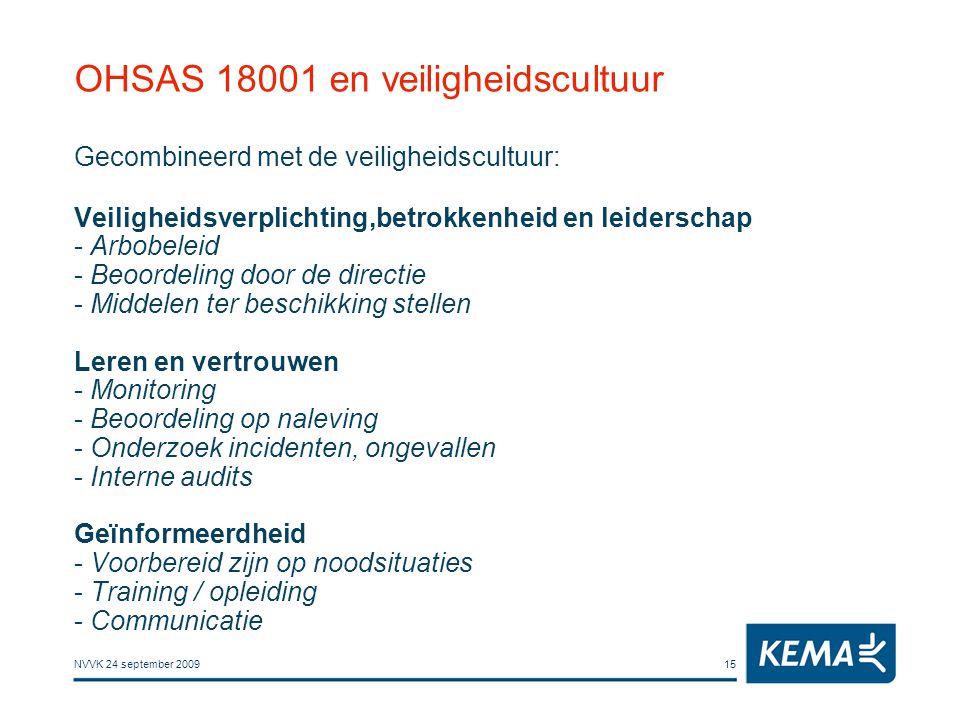 NVVK 24 september 200915 OHSAS 18001 en veiligheidscultuur Gecombineerd met de veiligheidscultuur: Veiligheidsverplichting,betrokkenheid en leiderscha