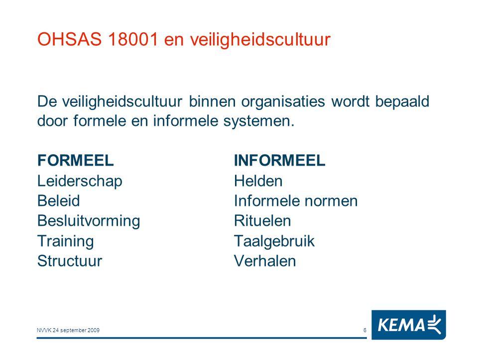 NVVK 24 september 20096 OHSAS 18001 en veiligheidscultuur De veiligheidscultuur binnen organisaties wordt bepaald door formele en informele systemen.
