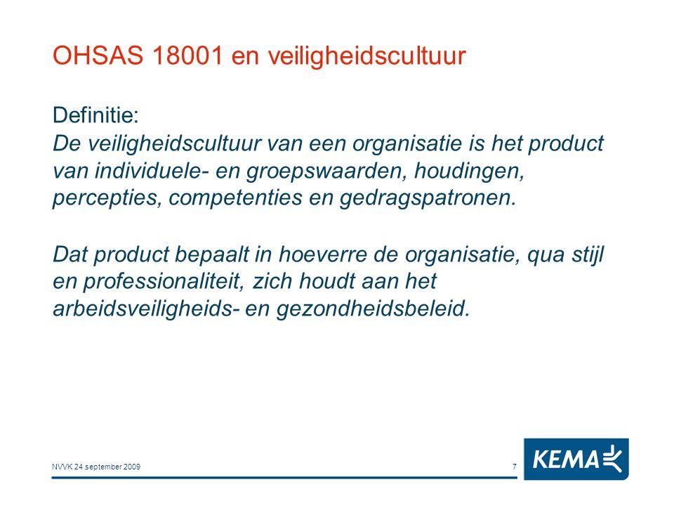 NVVK 24 september 20097 OHSAS 18001 en veiligheidscultuur Definitie: De veiligheidscultuur van een organisatie is het product van individuele- en groe