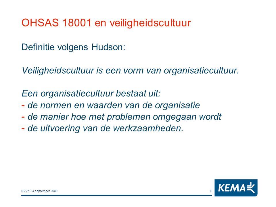 NVVK 24 september 20098 OHSAS 18001 en veiligheidscultuur Definitie volgens Hudson: Veiligheidscultuur is een vorm van organisatiecultuur. Een organis