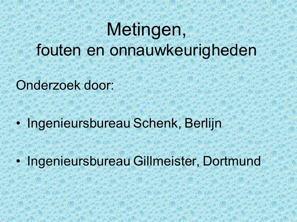 Metingen, fouten en onnauwkeurigheden Onderzoek door: Ingenieursbureau Schenk, Berlijn Ingenieursbureau Gillmeister, Dortmund