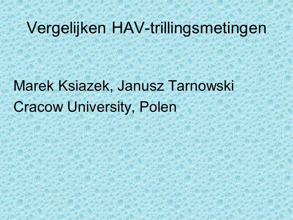 Vergelijken HAV-trillingsmetingen Marek Ksiazek, Janusz Tarnowski Cracow University, Polen