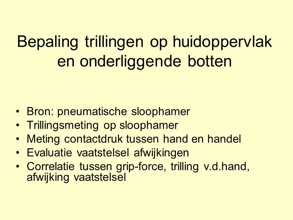 Bepaling trillingen op huidoppervlak en onderliggende botten Bron: pneumatische sloophamer Trillingsmeting op sloophamer Meting contactdruk tussen han