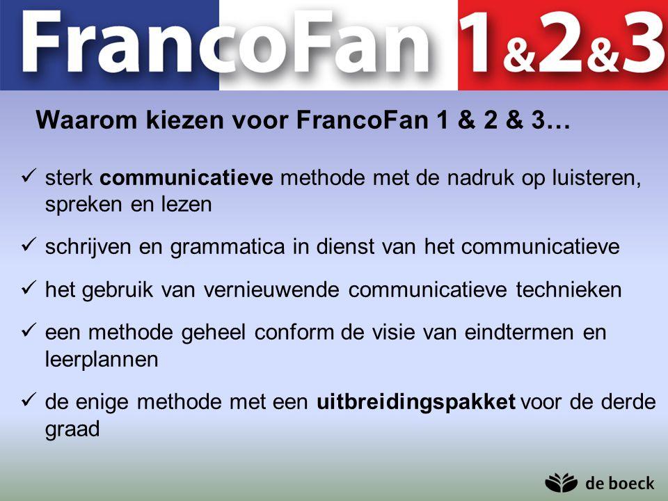 Waarom kiezen voor FrancoFan 1 & 2 & 3… sterk communicatieve methode met de nadruk op luisteren, spreken en lezen schrijven en grammatica in dienst va