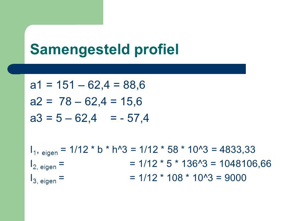 a1 = 151 – 62,4 = 88,6 a2 = 78 – 62,4 = 15,6 a3 = 5 – 62,4 = - 57,4 I 1, eigen = 1/12 * b * h^3 = 1/12 * 58 * 10^3 = 4833,33 I 2, eigen = = 1/12 * 5 *