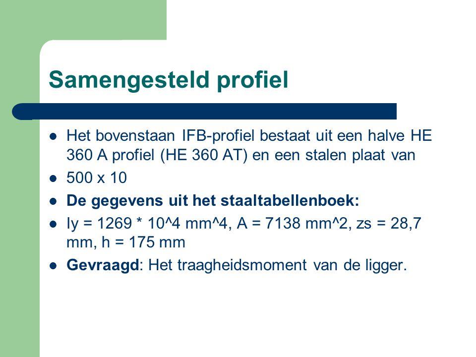 Het bovenstaan IFB-profiel bestaat uit een halve HE 360 A profiel (HE 360 AT) en een stalen plaat van 500 x 10 De gegevens uit het staaltabellenboek:
