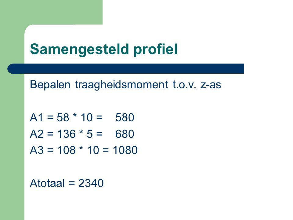 Samengesteld profiel Sz' = (A1y1) + (A2y2) + (A3y3) Sz' = (580 * 151) + (680 * 78) + (1080 * 5) Sz' = 87580 + 53040 + 5400 = 146020 y = Sz'/Atot  146020 / 2340 = 62,4