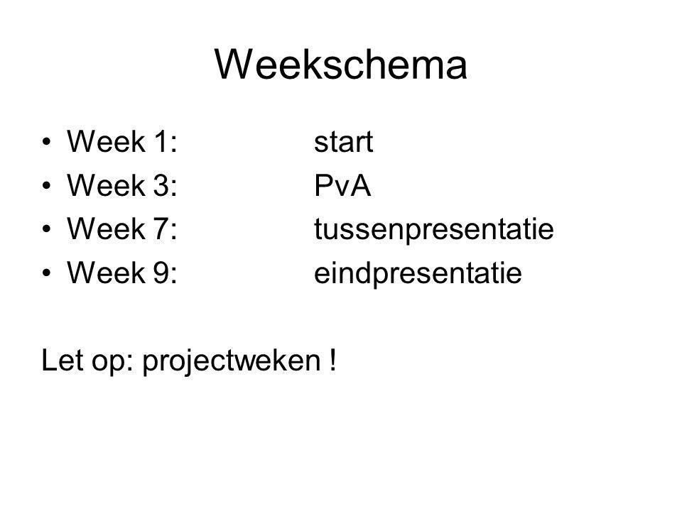 Weekschema Week 1:start Week 3:PvA Week 7:tussenpresentatie Week 9:eindpresentatie Let op: projectweken !