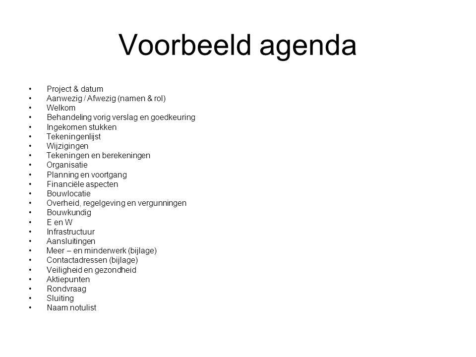 Voorbeeld agenda Project & datum Aanwezig / Afwezig (namen & rol) Welkom Behandeling vorig verslag en goedkeuring Ingekomen stukken Tekeningenlijst Wi