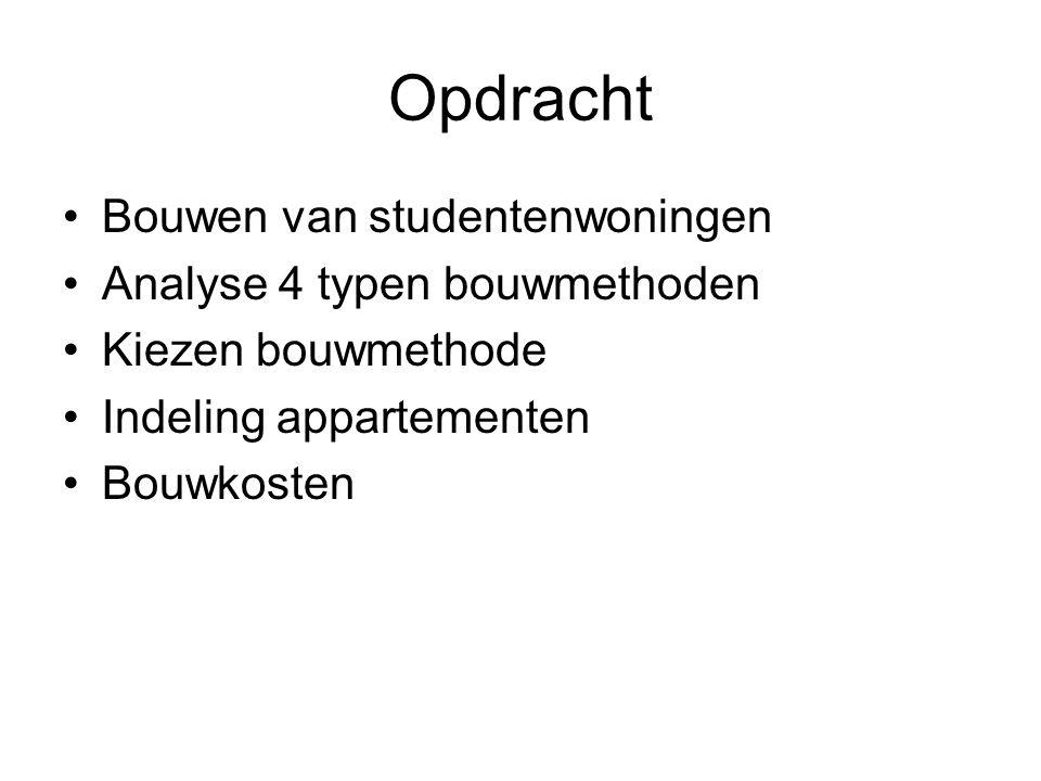 Opdracht Bouwen van studentenwoningen Analyse 4 typen bouwmethoden Kiezen bouwmethode Indeling appartementen Bouwkosten