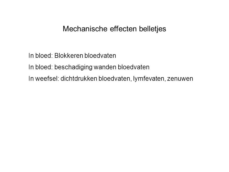 In bloed: Blokkeren bloedvaten In bloed: beschadiging wanden bloedvaten In weefsel: dichtdrukken bloedvaten, lymfevaten, zenuwen Mechanische effecten