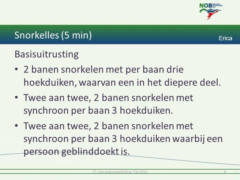Snorkelles (5 min) Basisuitrusting 2 banen snorkelen met per baan drie hoekduiken, waarvan een in het diepere deel.