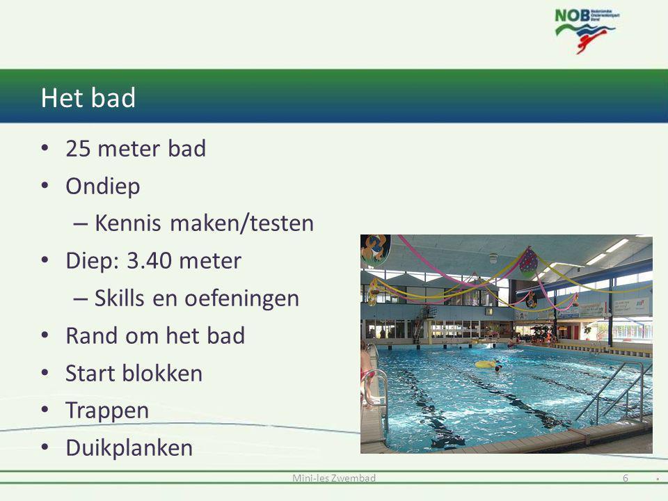 Het bad Mini-les Zwembad6 25 meter bad Ondiep – Kennis maken/testen Diep: 3.40 meter – Skills en oefeningen Rand om het bad Start blokken Trappen Duik