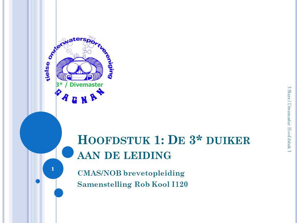 H OOFDSTUK 1: D E 3* DUIKER AAN DE LEIDING CMAS/NOB brevetopleiding Samenstelling Rob Kool I120 1 3 Sters / Divemaster Hoofdstuk 1