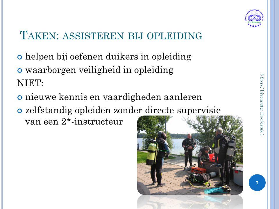 A SSISTEREN BIJ OPLEIDINGEN IN PRAKTIJK Afspraken met de instructeur maken Helpen met 'logistiek' Oefenen vaardigheden (zwembad: demonstratievaardigheden.