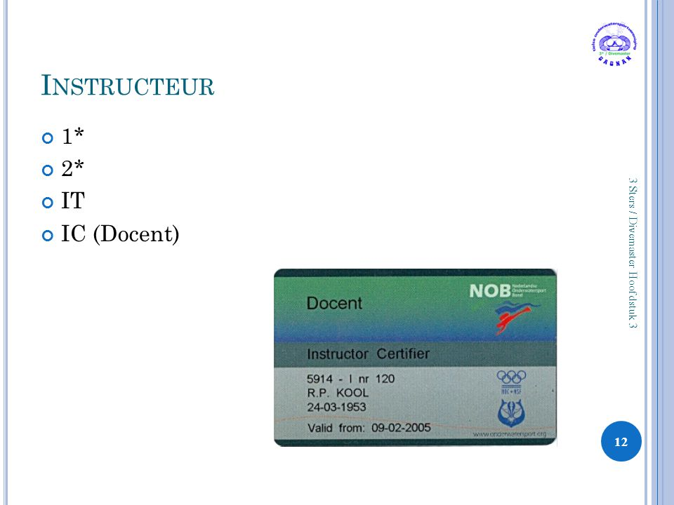 I NSTRUCTEUR 1* 2* IT IC (Docent) 12 3 Sters / Divemaster Hoofdstuk 3