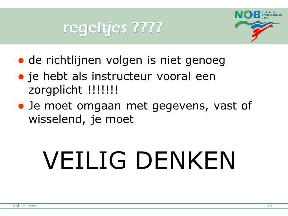 Nederlandse Onderwatersport Bond opl.1* Instr.13 regeltjes ???? de richtlijnen volgen is niet genoeg je hebt als instructeur vooral een zorgplicht !!!