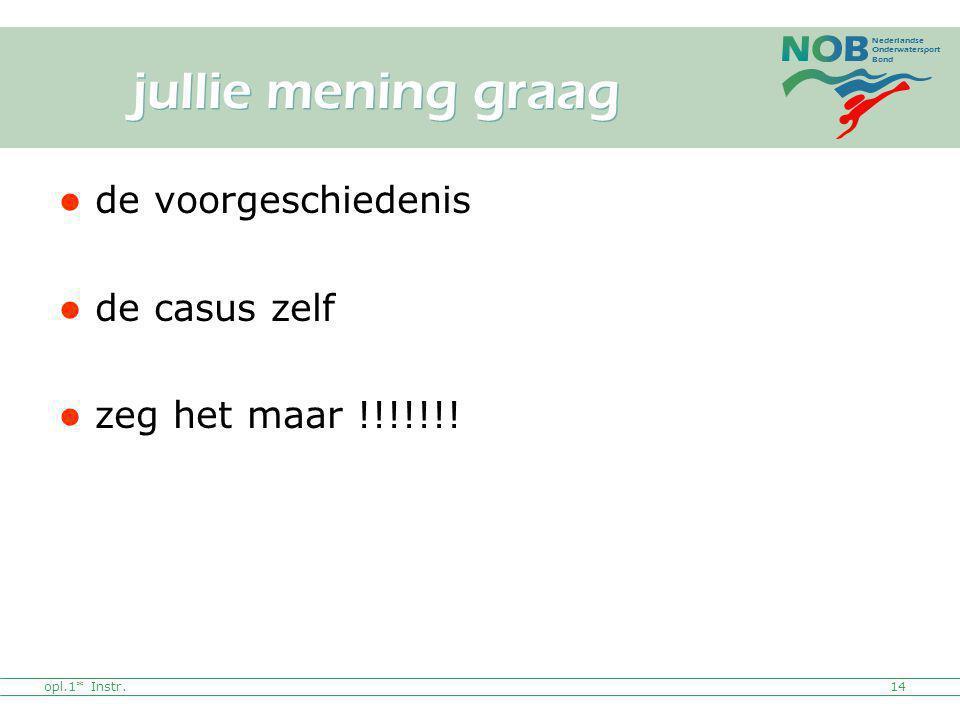 Nederlandse Onderwatersport Bond de voorgeschiedenis de casus zelf zeg het maar !!!!!!! opl.1* Instr.14 jullie mening graag