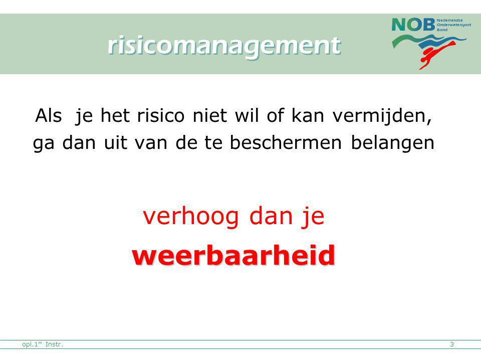 Nederlandse Onderwatersport Bond opl.1* Instr.3 Als je het risico niet wil of kan vermijden, ga dan uit van de te beschermen belangen verhoog dan jewe