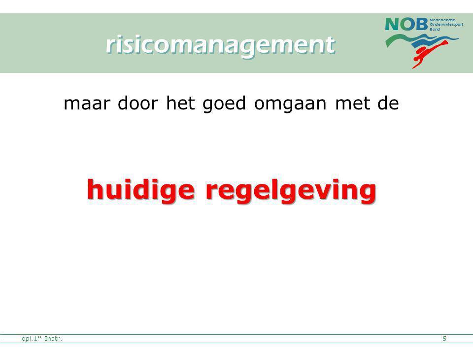Nederlandse Onderwatersport Bond opl.1* Instr.5 maar door het goed omgaan met de huidige regelgeving risicomanagement