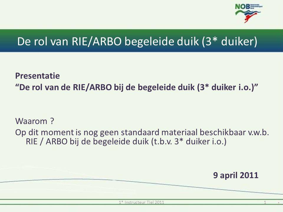 """De rol van RIE/ARBO begeleide duik (3* duiker) Presentatie """"De rol van de RIE/ARBO bij de begeleide duik (3* duiker i.o.)"""" Waarom ? Op dit moment is n"""
