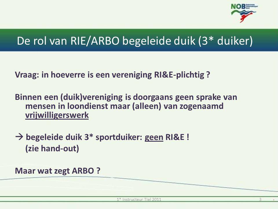 De rol van RIE/ARBO begeleide duik (3* duiker) Vraag: in hoeverre is een vereniging RI&E-plichtig ? Binnen een (duik)vereniging is doorgaans geen spra