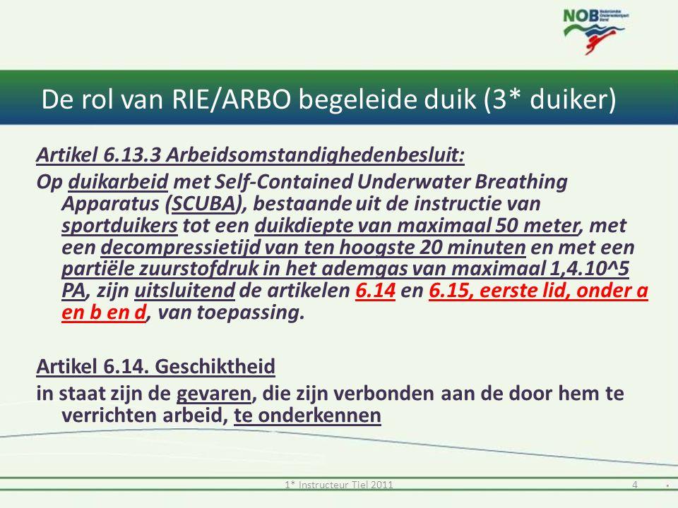 De rol van RIE/ARBO begeleide duik (3* duiker) Artikel 6.15.