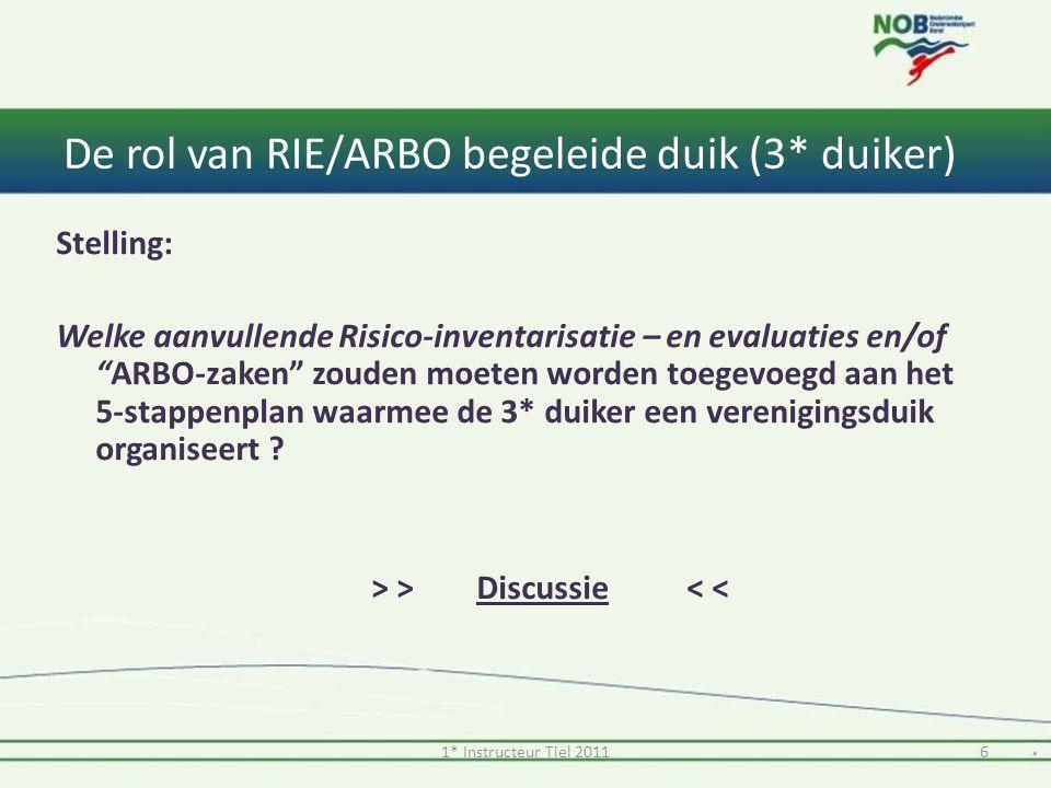 """De rol van RIE/ARBO begeleide duik (3* duiker) Stelling: Welke aanvullende Risico-inventarisatie – en evaluaties en/of """"ARBO-zaken"""" zouden moeten word"""
