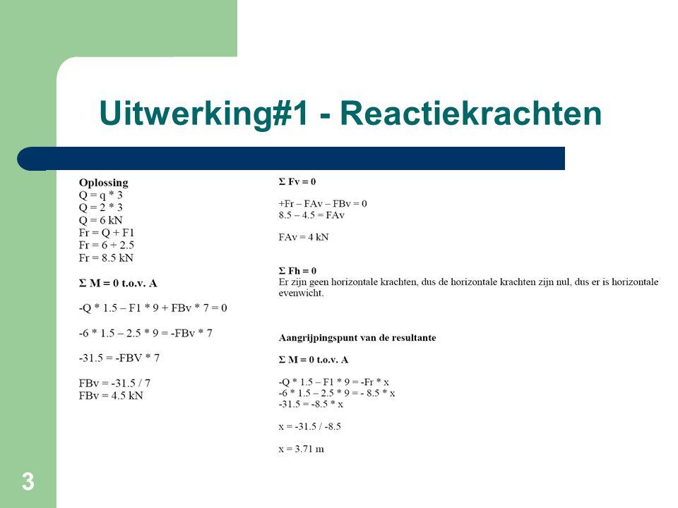 14 Bepalen krachten op gerberligger Deel S1-S2  q = 2 kN/m  Q = 2 * 5 = 10 kN  S1 = S2 = ½ qL = 5 kN Deel A-S1 = Deel S3-E  Som momenten tov A = 0  -5 * 8 – 2 * 8 * 4 + Fb * 7 = 0  Fb = 14,86 kN  Som verticale krachten is nul  16 + 5 - 14,86 – Fa = 0  Fa=6,14 kN