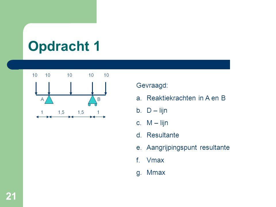 21 Opdracht 1 111,5 10 AB Gevraagd: a.Reaktiekrachten in A en B b.D – lijn c.M – lijn d.Resultante e.Aangrijpingspunt resultante f.Vmax g.Mmax 10