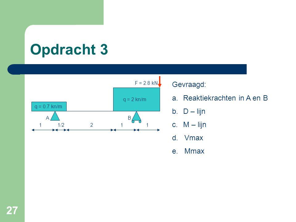 27 Opdracht 3 q = 0.7 kn/m q = 2 kn/m 1/21211 AB Gevraagd: a.Reaktiekrachten in A en B b.D – lijn c.M – lijn d. Vmax e. Mmax F = 2.8 kN