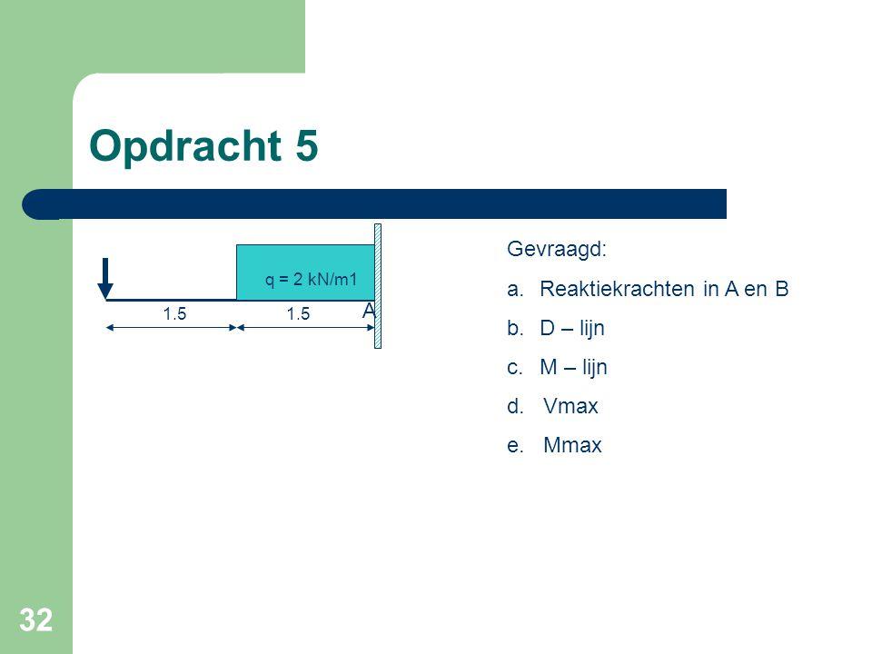32 Opdracht 5 q = 2 kN/m1 A 1.5 Gevraagd: a.Reaktiekrachten in A en B b.D – lijn c.M – lijn d. Vmax e. Mmax