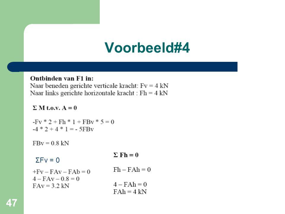 47 Voorbeeld#4 ΣFv = 0