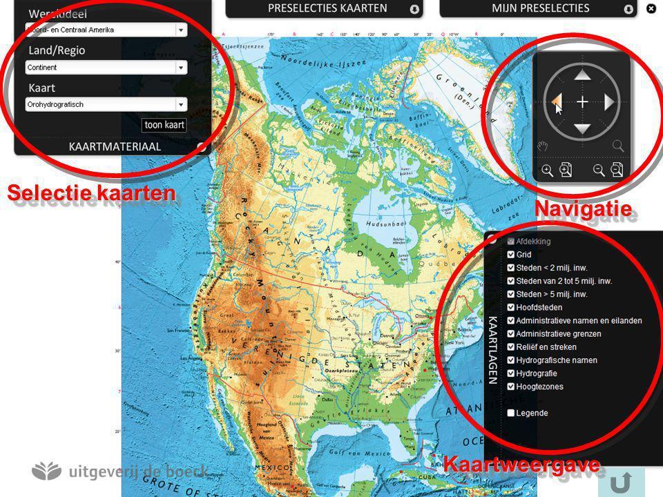 Selectie kaarten KaartweergaveKaartweergave NavigatieNavigatie
