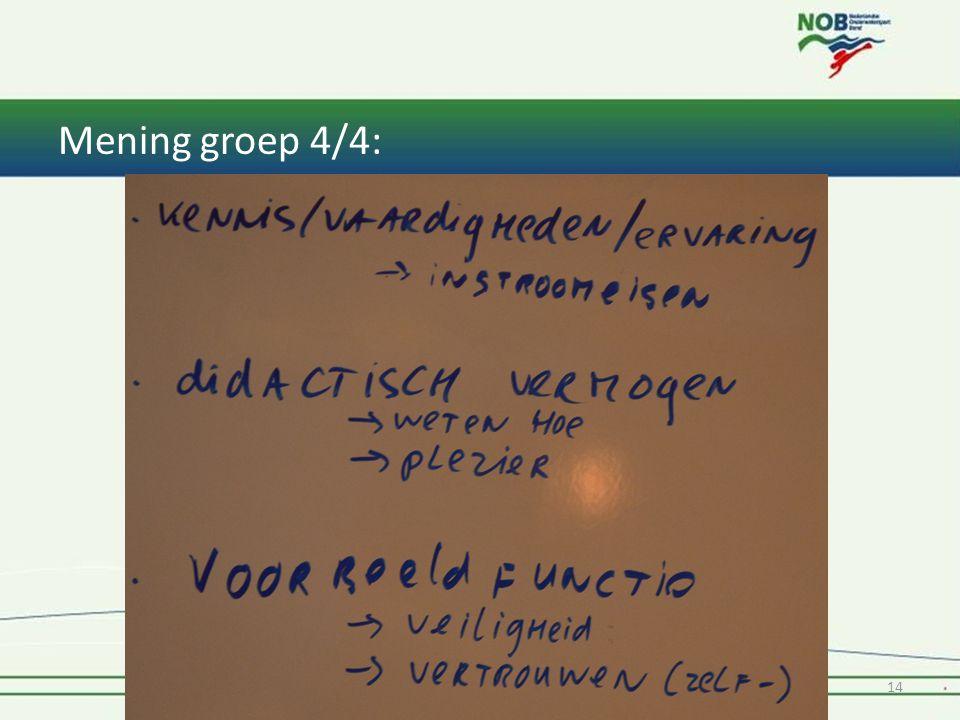 Mening groep 4/4: 1* Instructeur Tiel & Oss 201414