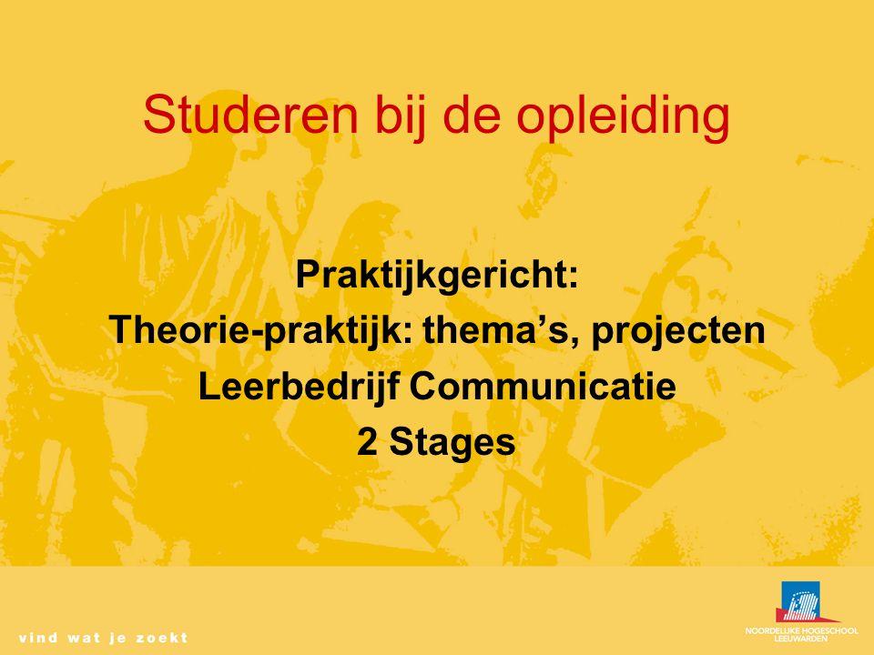 Studeren bij de opleiding Praktijkgericht: Theorie-praktijk: thema's, projecten Leerbedrijf Communicatie 2 Stages