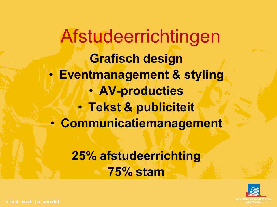 Afstudeerrichtingen Grafisch design Eventmanagement & styling AV-producties Tekst & publiciteit Communicatiemanagement 25% afstudeerrichting 75% stam