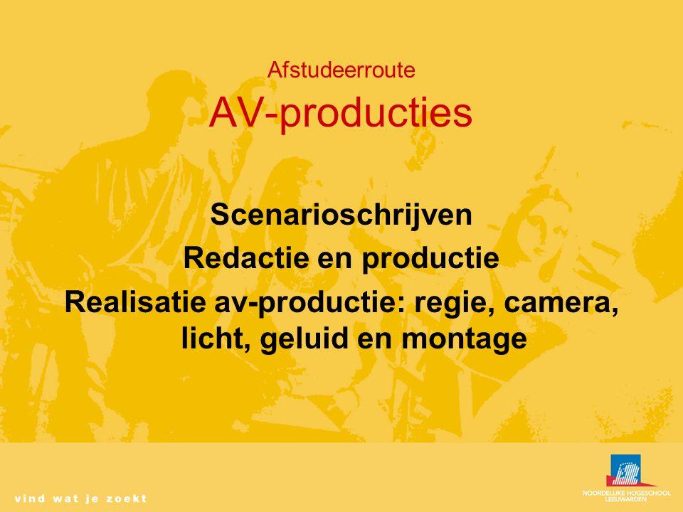Afstudeerroute AV-producties Scenarioschrijven Redactie en productie Realisatie av-productie: regie, camera, licht, geluid en montage