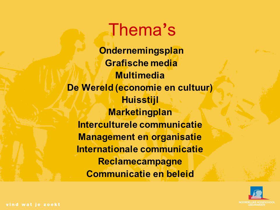 Thema ' s Ondernemingsplan Grafische media Multimedia De Wereld (economie en cultuur) Huisstijl Marketingplan Interculturele communicatie Management en organisatie Internationale communicatie Reclamecampagne Communicatie en beleid