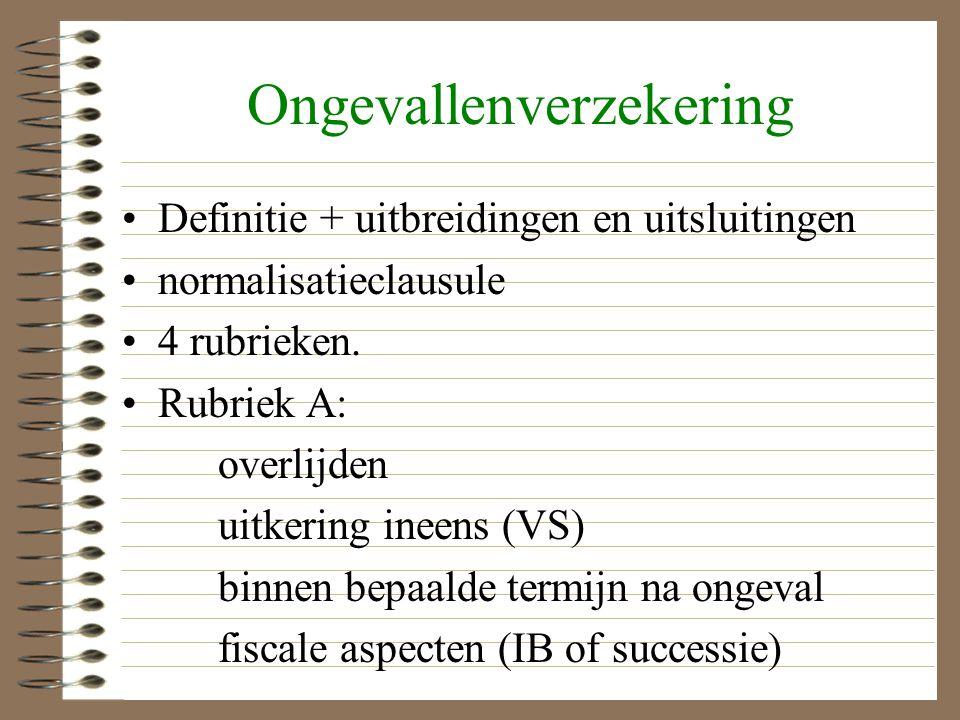 Ongevallenverzekering Definitie + uitbreidingen en uitsluitingen normalisatieclausule 4 rubrieken.