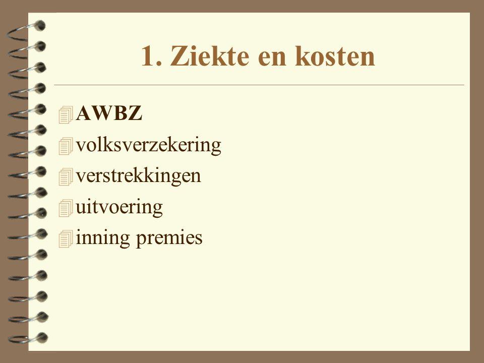 1. Ziekte en kosten 4 AWBZ 4 volksverzekering 4 verstrekkingen 4 uitvoering 4 inning premies