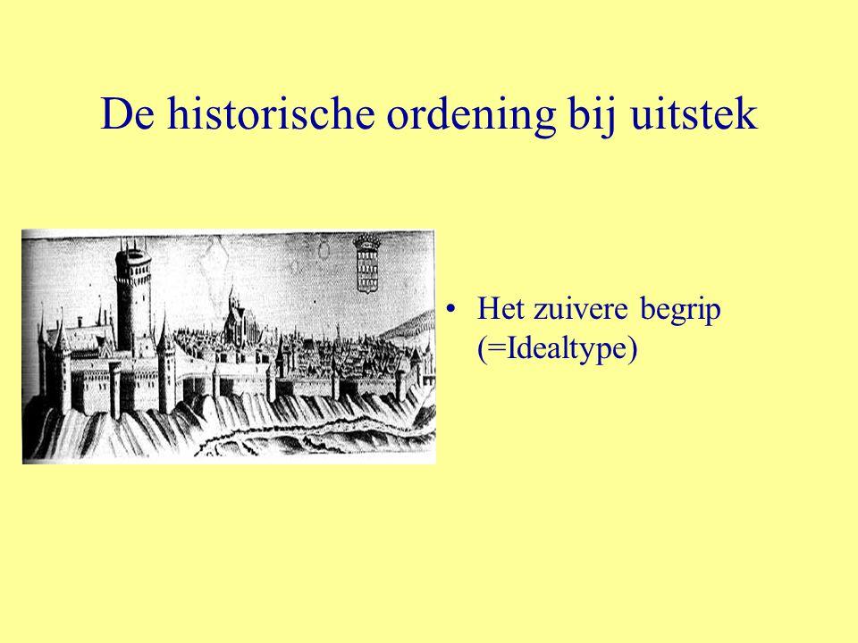 De historische ordening bij uitstek Het zuivere begrip (=Idealtype)