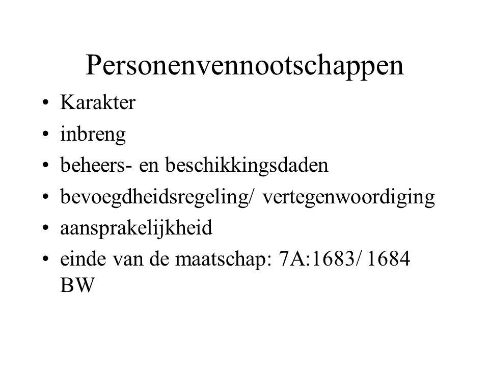 Personenvennootschappen Karakter inbreng beheers- en beschikkingsdaden bevoegdheidsregeling/ vertegenwoordiging aansprakelijkheid einde van de maatschap: 7A:1683/ 1684 BW
