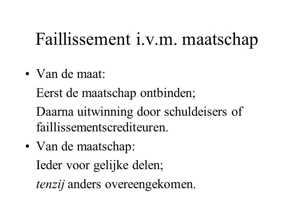 Faillissement i.v.m. maatschap Van de maat: Eerst de maatschap ontbinden; Daarna uitwinning door schuldeisers of faillissementscrediteuren. Van de maa