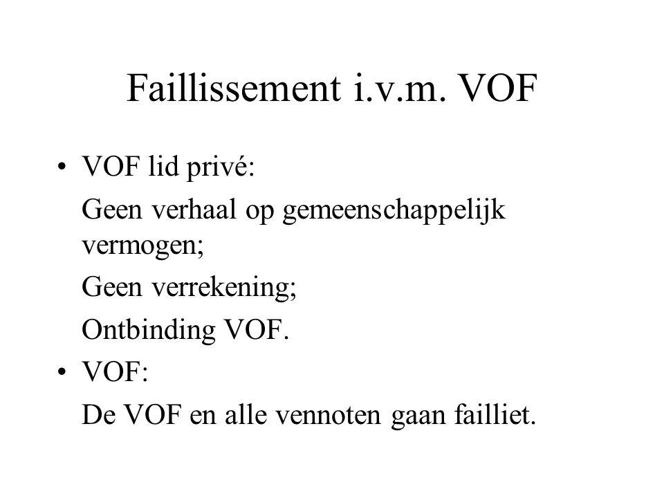 Faillissement i.v.m. VOF VOF lid privé: Geen verhaal op gemeenschappelijk vermogen; Geen verrekening; Ontbinding VOF. VOF: De VOF en alle vennoten gaa